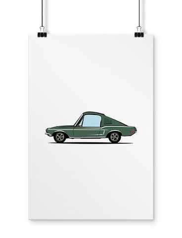 fan art 1968 mcqueen movie car poster