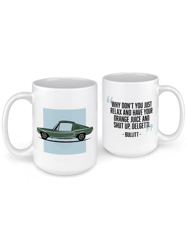 funny coffee mugs 1968 mcqueen movie car front back