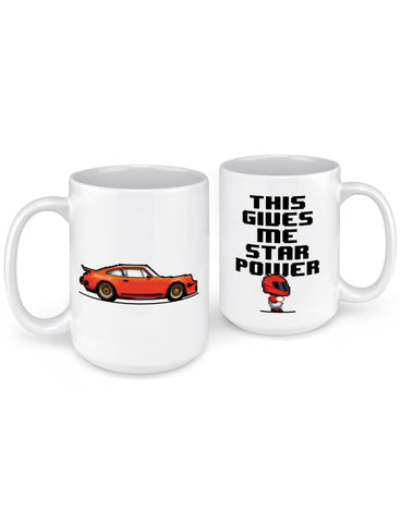 funny coffee mugs 8 bit 911 sports car front back
