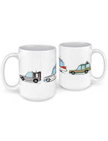 funny coffee mugs 80s 90s classic movie cars front back