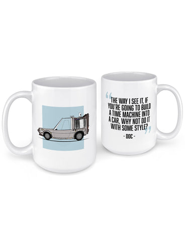 funny coffee mugs doc brown time machine front back