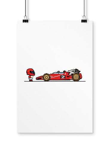 gaming posters 8 bit indy race car art