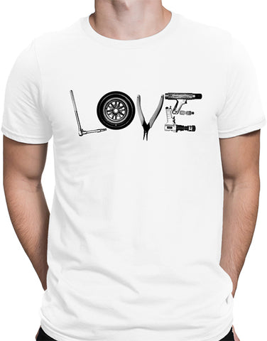 love tools mechanic t shirt mens car shirts white