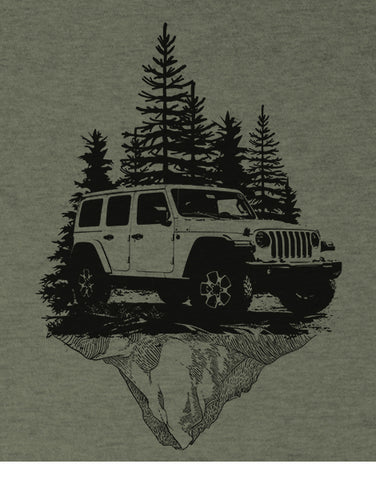 mountains off roading t shirts hoodies mens heather olive car shirts flat