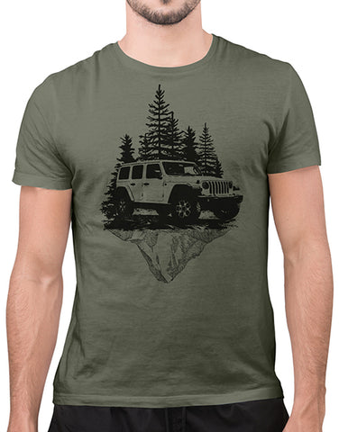mountains off roading t shirts hoodies mens heather olive car shirts