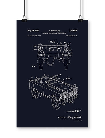 Patent Drawings 1963 Pedal Car Poster