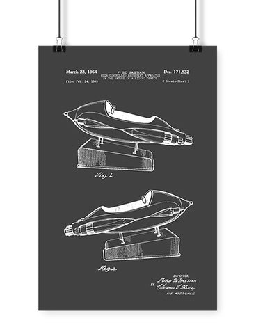 patent drawings coin operated rocket poster