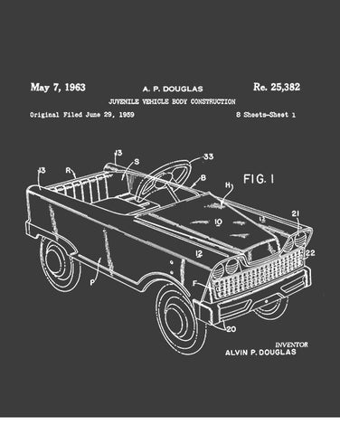 pedal car patent drawing t shirt graphic tee flat asphalt