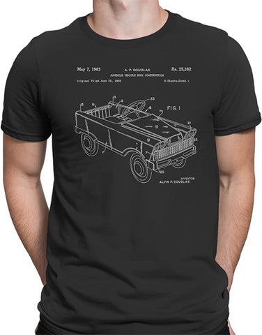 pedal car patent drawing t shirt graphic tee mens asphalt