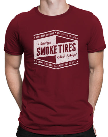 Racing shirts mens smokey yunick smoke tires not drugs cardinal