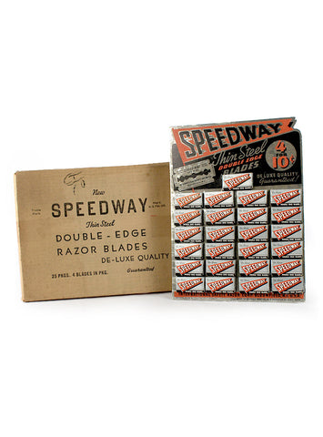 vintage advertising speedway razor blade display
