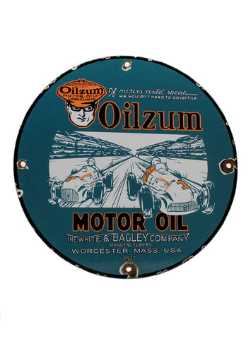 Vintage Signs 1937 Oilzum Motor Oil Porcelain Gas Station Pump Sign front
