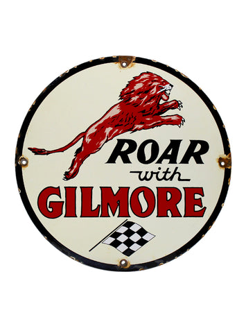 Vintage Signs 1940s Roar With Gilmore Lion Porcelain Gas Station Pump Plate Sign