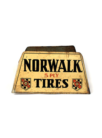 vintage signs Norwalk tires stand mancave decor