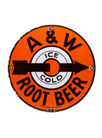 Vintage Signs - A&W Ice Cold Root Beer Porcelain Sign