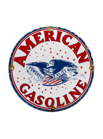Vintage Signs American Gasoline Eagle Porcelain Gas Station Pump Sign front