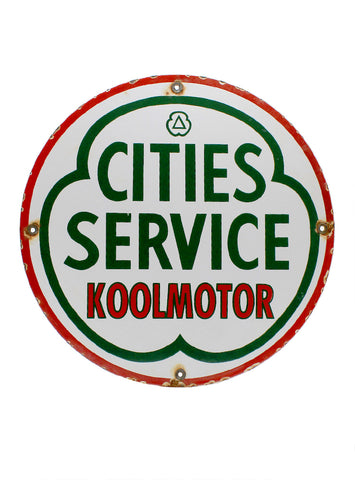 Vintage Signs Cities Service Koolmotor Porcelain Pump Plate Sign
