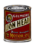 Vintage Signs Gilmore Lion Head Purest Pennsylvania Motor Oil Can Porcelain Sign