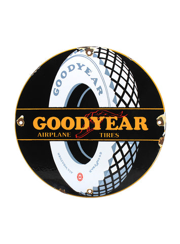 Vintage Signs Goodyear Airplane Tires Porcelain Sign