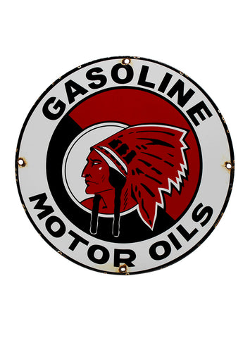 Vintage Signs Red Indian Gasoline Motor Oils Porcelain Pump Plate Sign