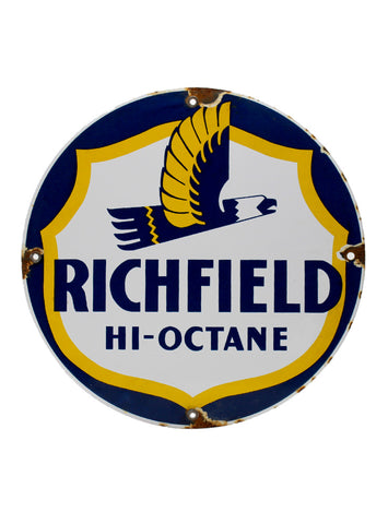 Vintage Signs Richfield Hi Octane Eagle Porcelain Pump Plate Sign