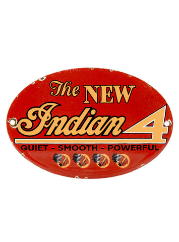 Vintage Signs The New Indian 4 Motorcycle Dealer Porcelain Advertising Sign
