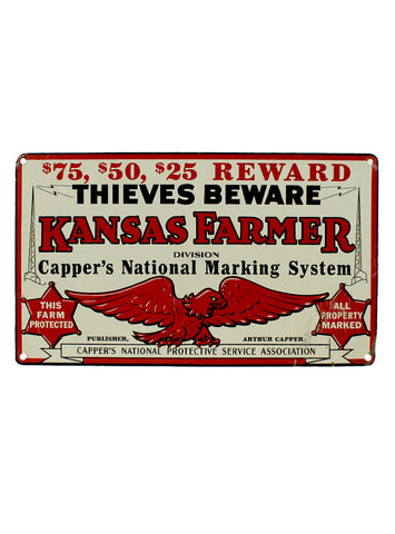 vintage signs thieves beware kansas farmer division cappers national marking system