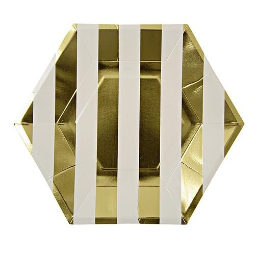 Gold Stripes Large Plates - Print&Paper