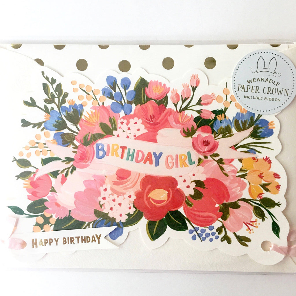 Birthday Girl Floral Paper Crown