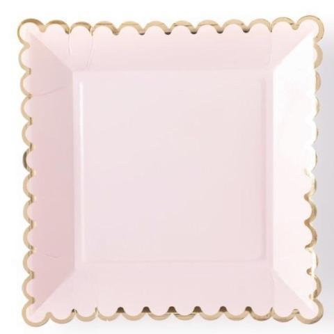 blush square party plates