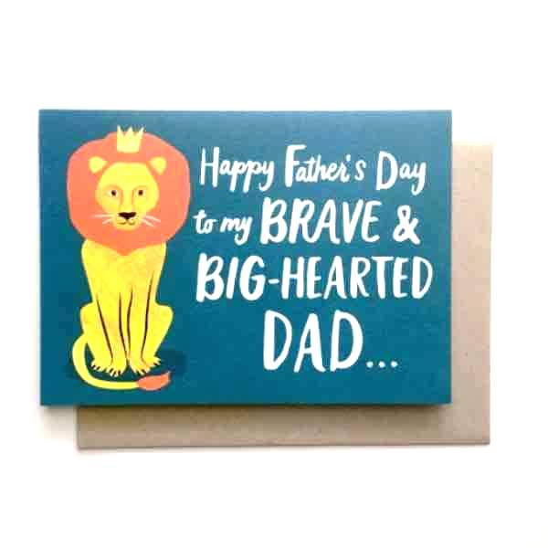 brave big hearted lion Father's Day card