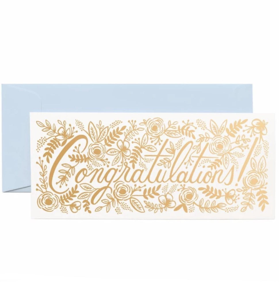 Champagne Floral Congrats No. 10 Card - rifle paper