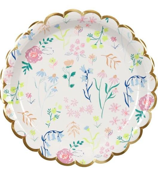 Large Floral Party Plate