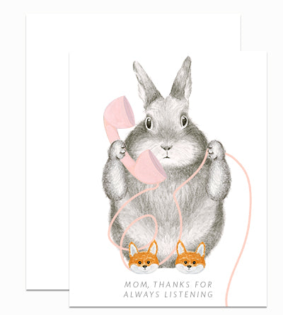 Bunny in Slippers Mom Card
