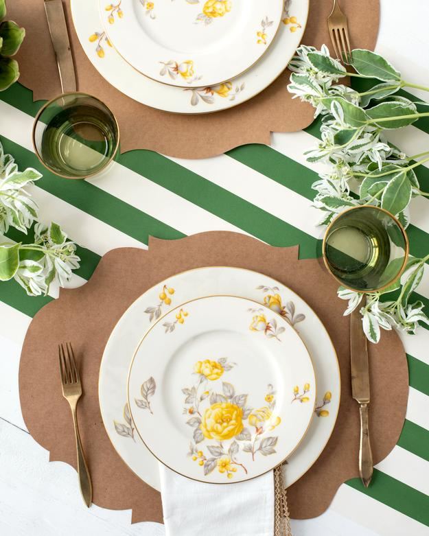 Dark Green Stripe Table Runner
