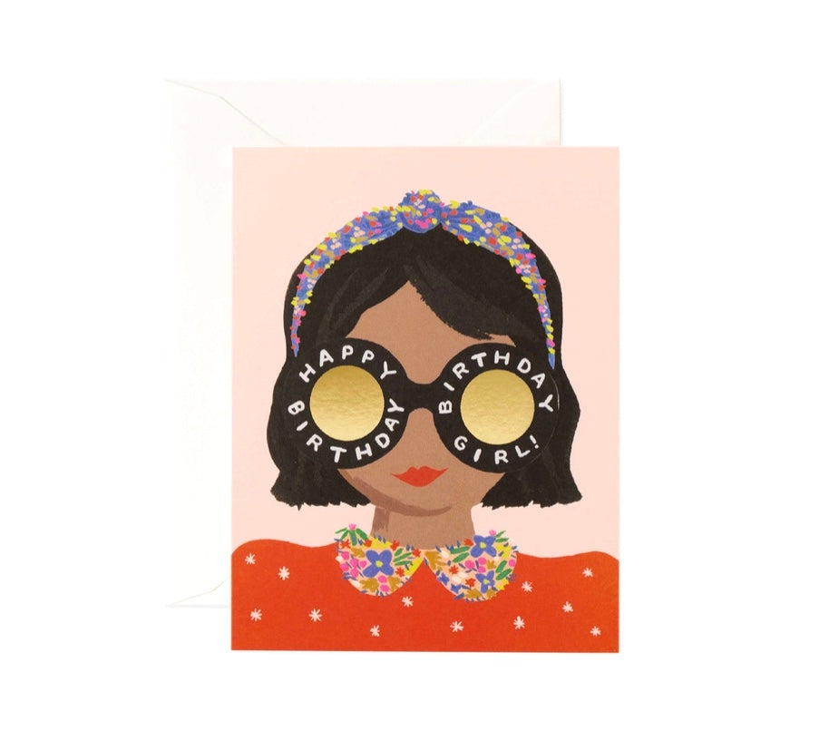 Headband Birthday Girl Card