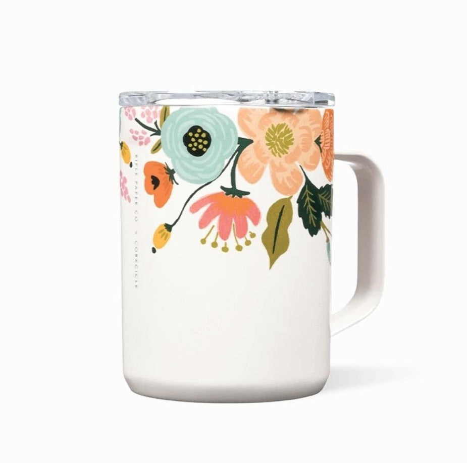 Lively Floral Corkcicle Mug - Cream