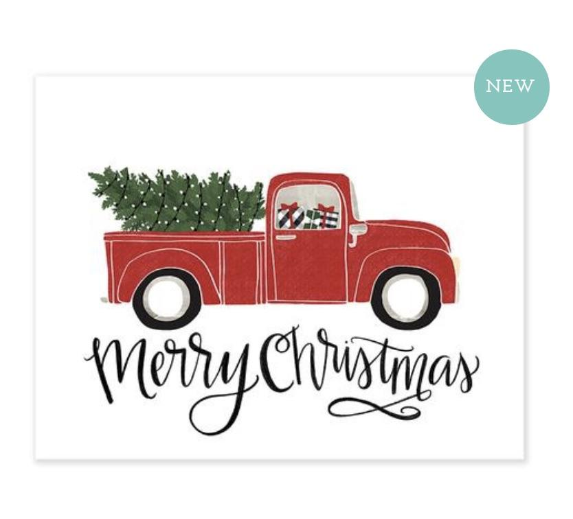 Merry Christmas Red Vintage Truck Christmas Card