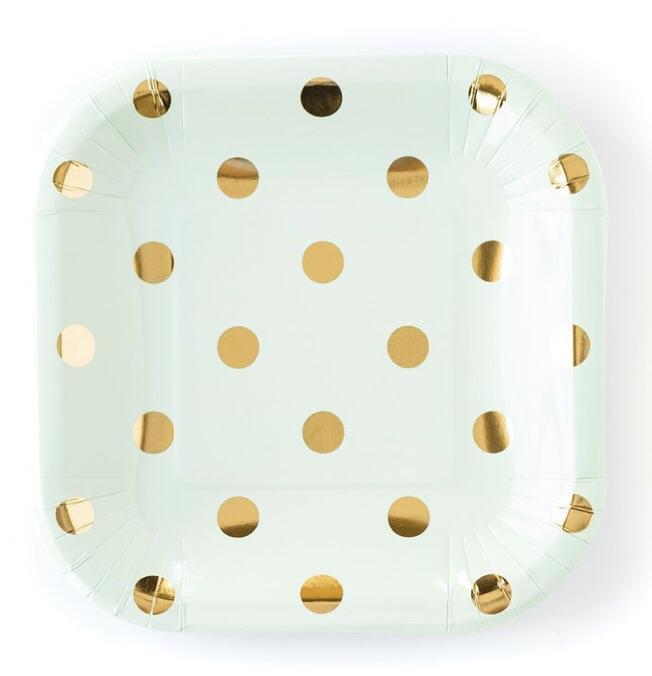 mint and gold polka dot plates