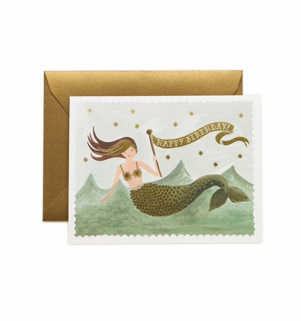 Vintage Mermaid Birthday Card - Print&Paper
