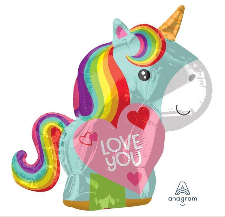 unicorn rainbow love balloon