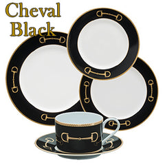 Julie Wear Cheval Black Equestrian Dinnerware