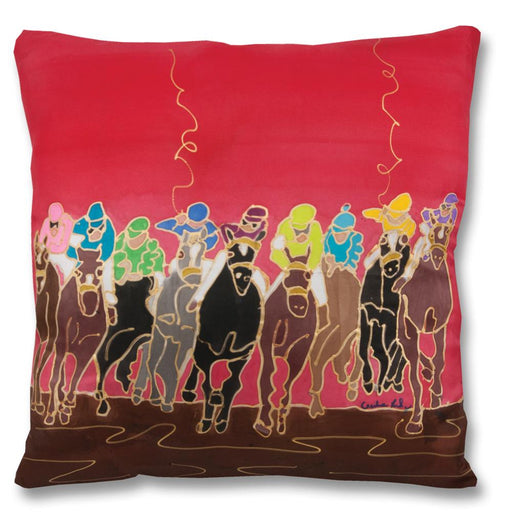 Charging Finish Racehorse Pillow - Hand-painted Silk