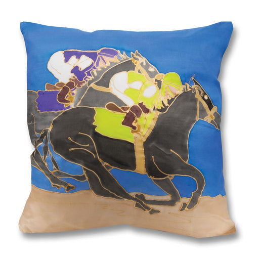 Match Race Horse Racing Pillow - Hand-painted Silk