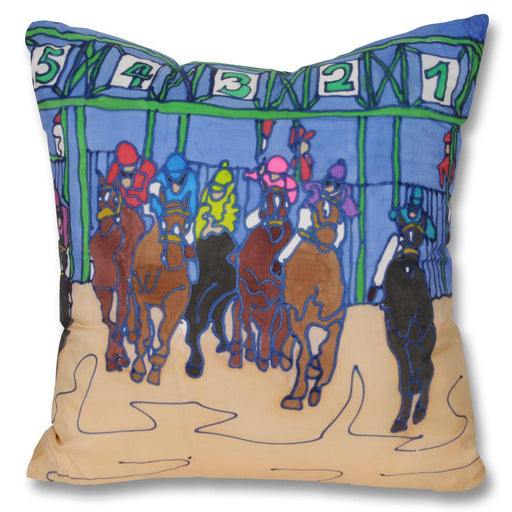 Out of the Gate Horse Racing Pillow - Hand-painted Silk