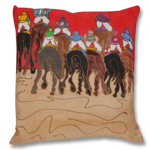 Down the Backside Horse Racing Pillow - Hand-painted Silk