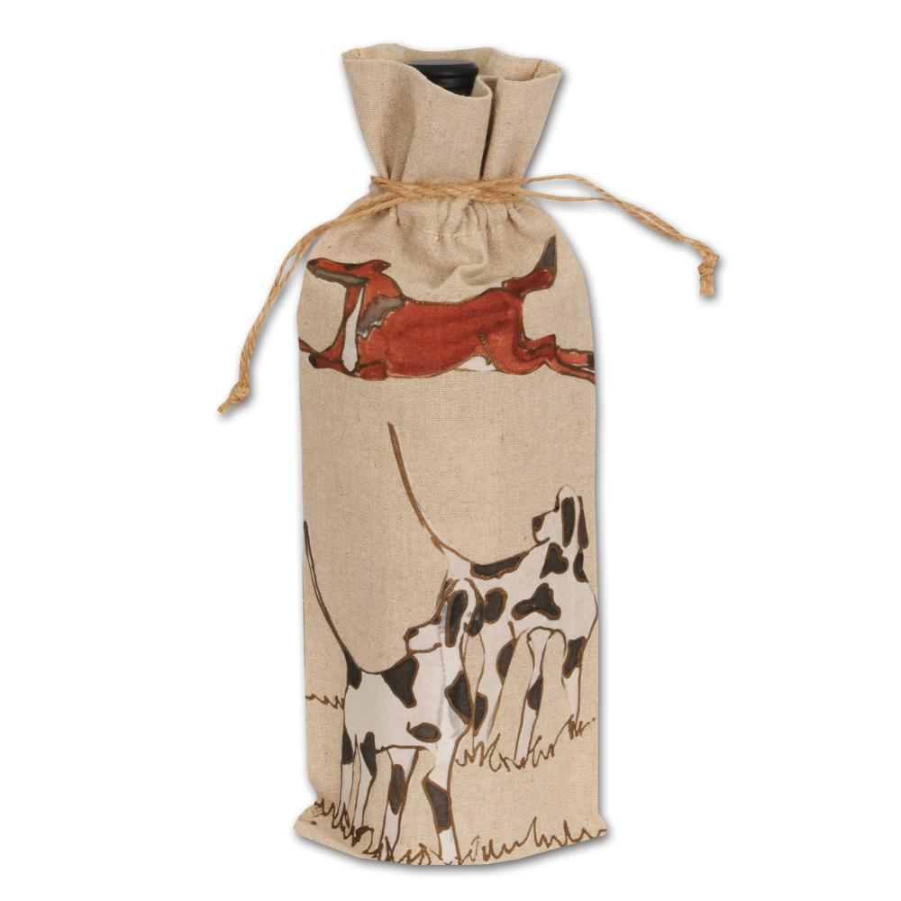 Fox and Hounds Wine Bag Hand-painted