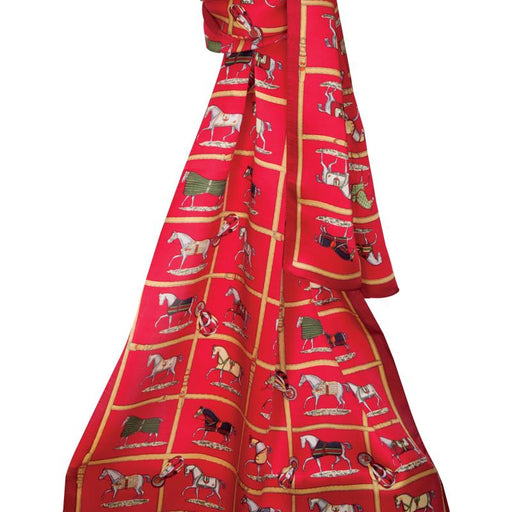 Equestrian Affair Silk Scarf - Red