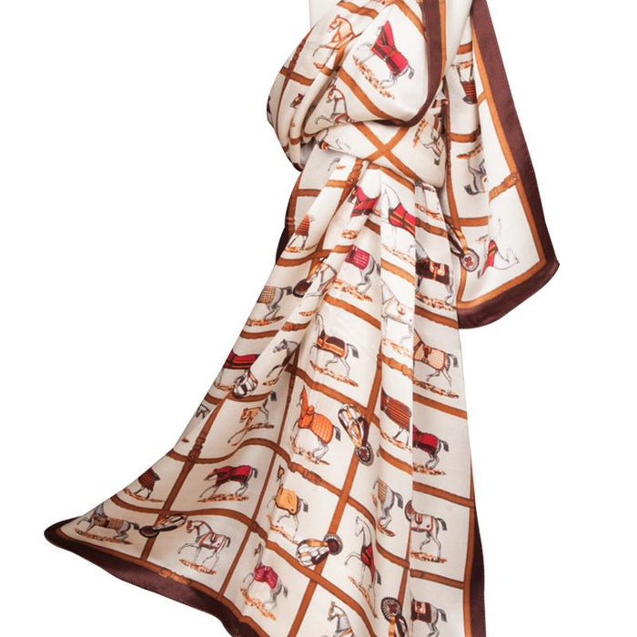 Equestrian Affair Silk Scarf - Cream
