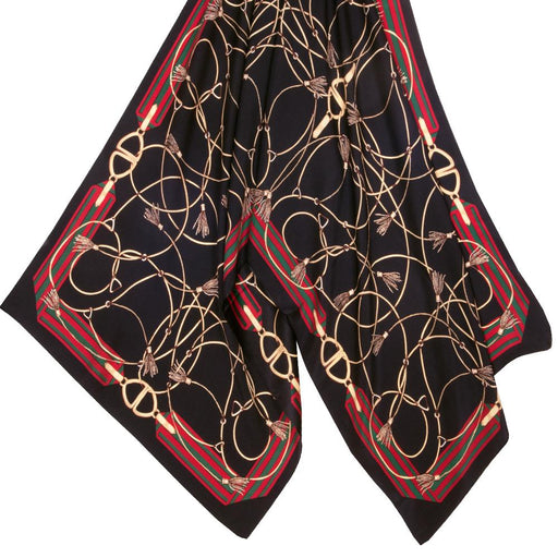 Gilded Stirrup and Tassels Silk Scarf - Black